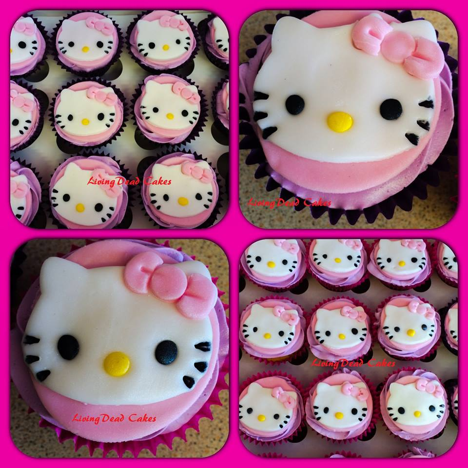 Hello Kitty birthday cupcakes.